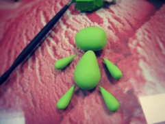 shape green clay monster body