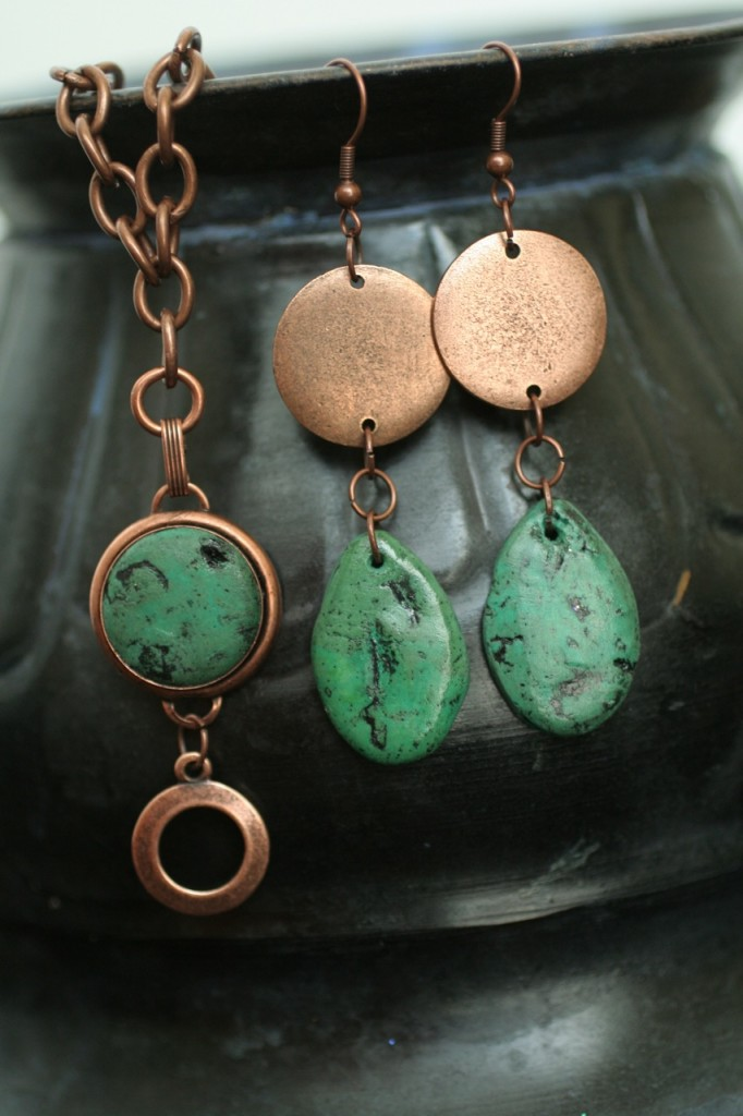 faux turquoise necklace and earrings