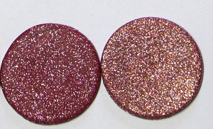 a closeup of how the glitter disburses in the mix