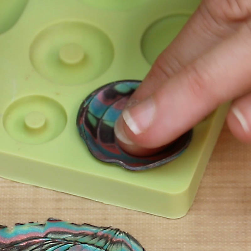 fill polymer clay into mold