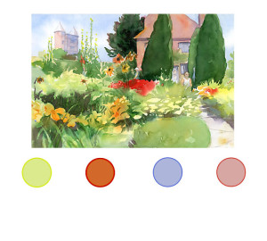 Our Spring watercolor we are matching to this month