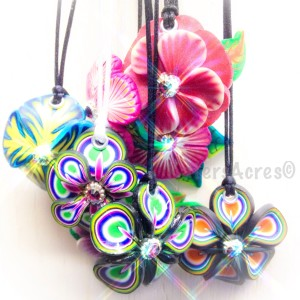Polymer Clay Flower Pendants by Katie Oskin of KatersAcres
