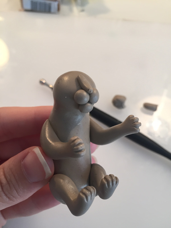 add polymer clay cat facial features