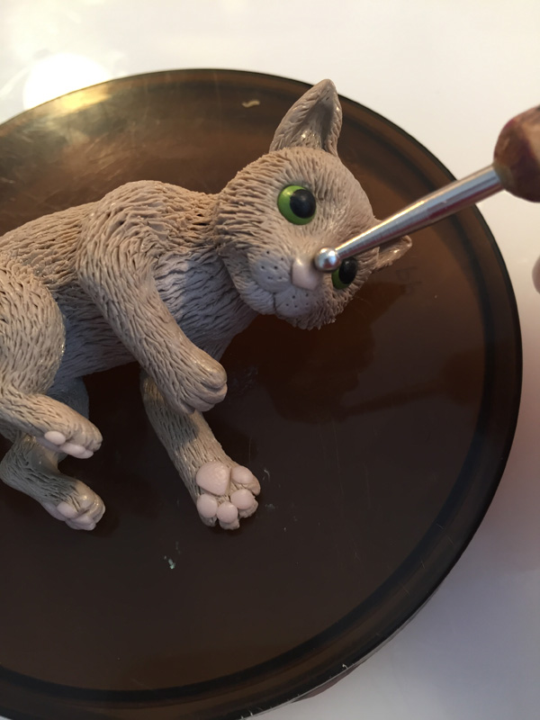 add nose to clay cat