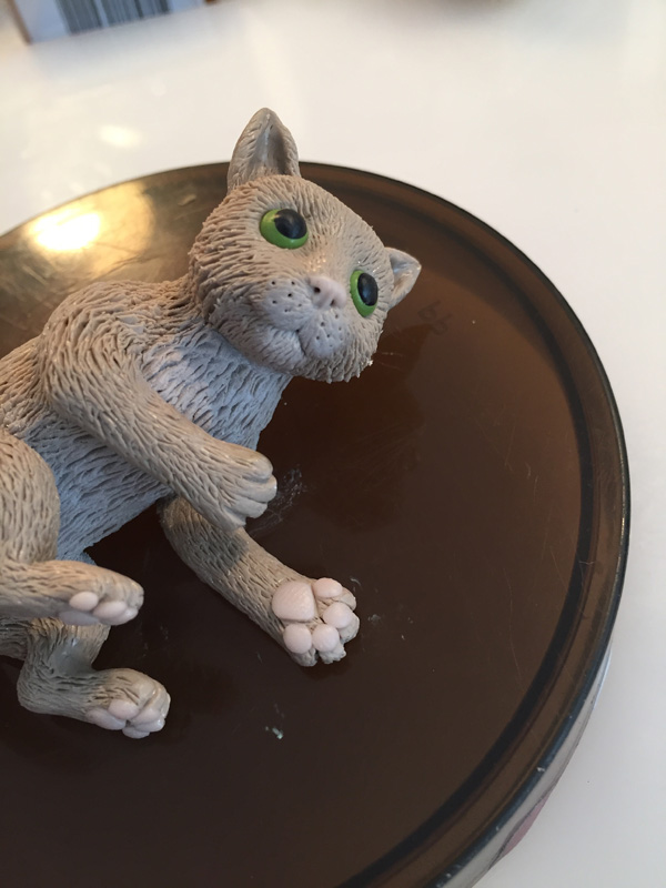 ad nose holes to clay cat
