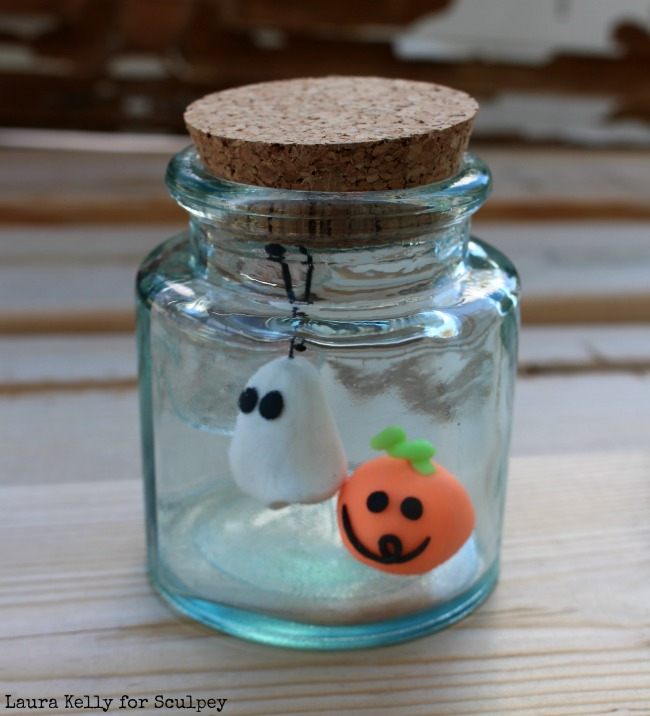 Clay Ghost on Wire Pet in Jar