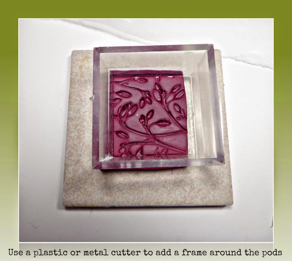 I like to add a raised frame around the edge when I make a mold for a pendant, it really sets off the design. If you decide to put resin on your pendant, the frame has the added advantage of holding the resin on top of your pendant.