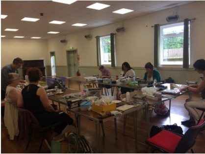 Last Sunday I had another Clay Day organised by the Anglian Polymer Clay Guild. The guild organises bi-monthly Clay Days in a village hall in Wortham, Diss (Norfolk, U.K.). The meetings are a great chance for polymer clay enthusiasts (like me) to meet other clayers, share knowledge and just clay all day! Members usually volunteer to do demonstrations on the day and we try to have at least 2 demos for each meet. The rest of the day everyone works on the new technique and the atmosphere is often very friendly and casual. On certain occassions we also have professional experts who do an all-day demonstration for us which is paid for by the Guild.