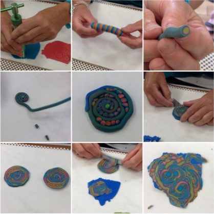 Gill demonstrated how to create an amazing swirly pattern using extruded clay. It was not that hard to do and everyone had fun trying out the same technique using their own choice of colours. This pattern can be used on it's own as a pendant or to cover beads. Either way you will always get a design which is totally unique and random.