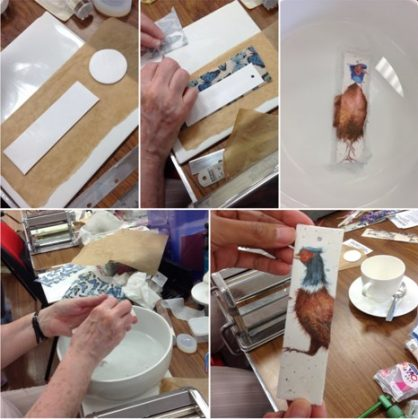 In the afternoon, Trish taught us another new technique which is transfering images from a paper napkin directly onto clay! We never knew it could be so easy and effective. She made them into bookmarks but of course we can make it into other items like coasters.