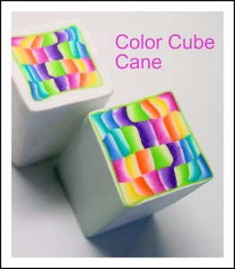 My Color Cube Canes were made using Skinner Blends, in a pastel rainbow of colors. I used these canes to make these Summer Hoop Earrings, and Barrette, shown below: