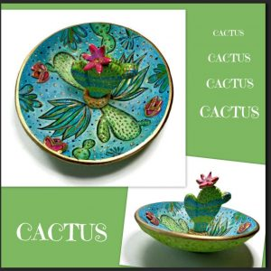 My Cactus Ring Dish (above) is a great way to add a bit of the Cacti Trend to your nightstand. A safe and trendy place to keep your rings, earrings, and necklace. No more misplacing those precious gems! Friends love to receive handmade gifts, they realize you took the time to create something special, just for them