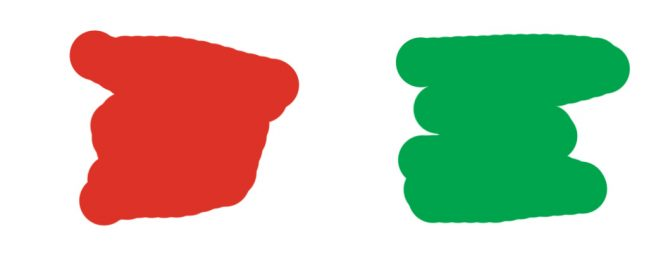 I think of these as middle red and middle green. On a color chart, middle red and middle green have the same value—the same degree of lightness or darkness, as compared with a gray scale.