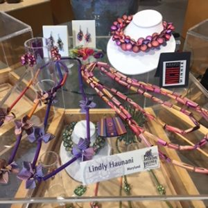 Trunk Show display featuring works by Lindly Haunani;