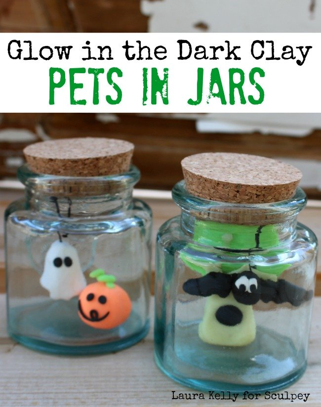 Glow in the Dark Clay Jar Pets