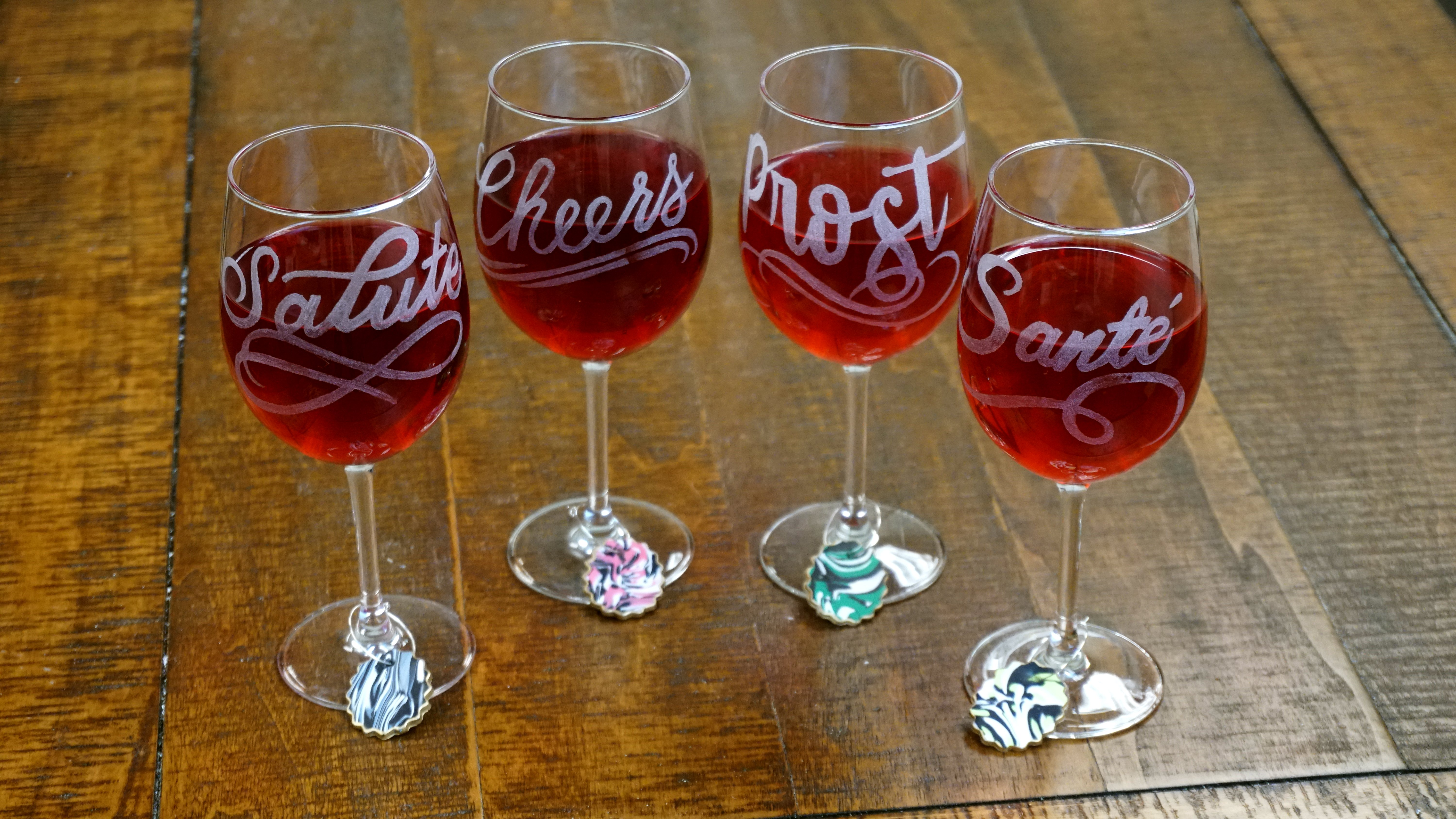 Personalized Wine Glasses and Charms with Sculpey and Dremel