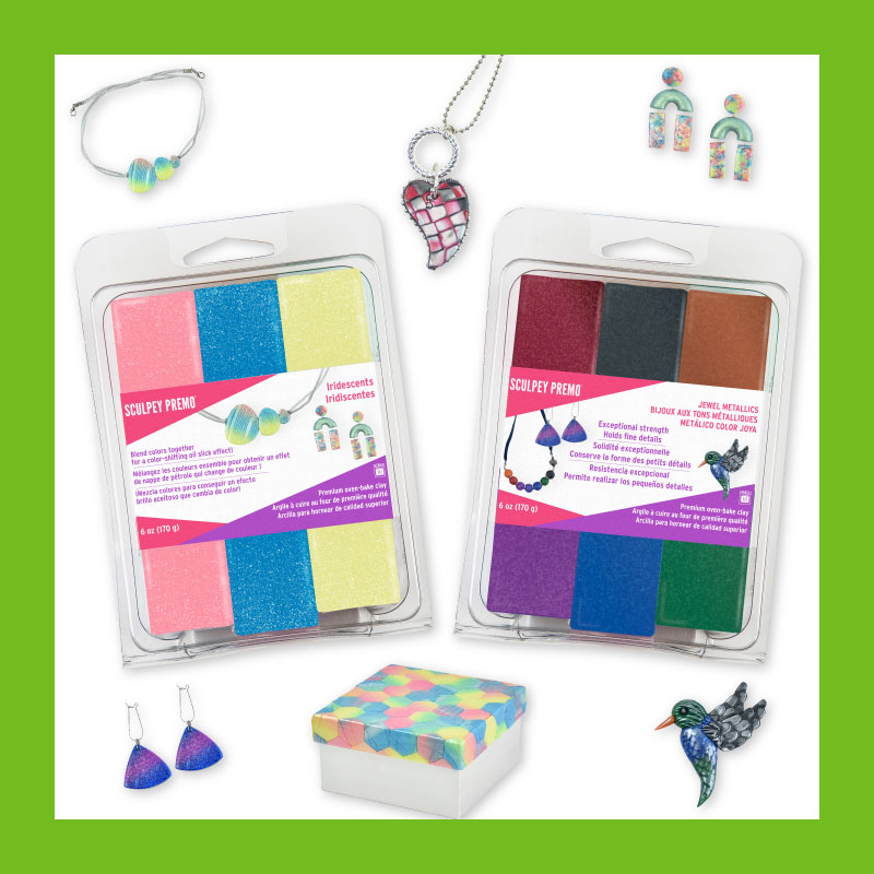Sculpey Premo Iridescent Mutli Pack and Sculpey Premo Metallic Multi Packs with sample projects