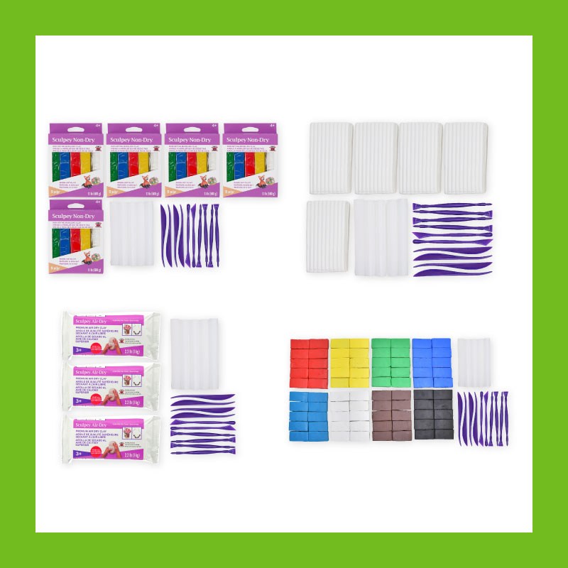 Teachers can get kids creative with four classroom packs designed with classes in mind! Choose from Air-Dry Clay, Non-Dry Clay, Bake Shop Oven Bake Clay and Original Sculpey Oven Bake Clay.