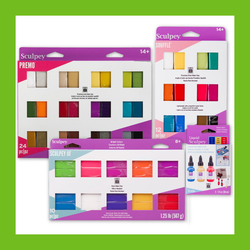 Sculpey multi-packs give you a chance to try different colors of clay all from one convenient package!