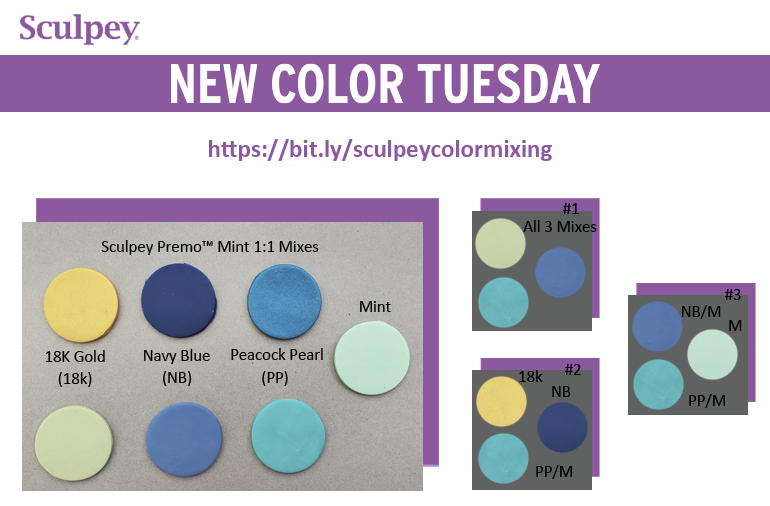 New Color Tuesday-Introducing Premo Mint - Pt 1.  Color swatches of 18k Gold, Navy Blue and Peacock Pearl with Mint